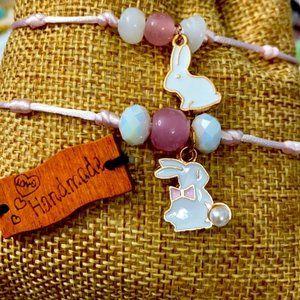 Mommy and Me Bunny 🐰 Rose quartz bracelet set